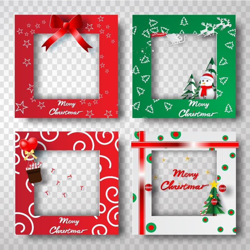 Τέχνη εγγράφου και τέχνη του συνόλου σχεδίου φωτογραφιών πλαισίων συνόρων Χριστουγέννων, τ ελεύθερη απεικόνιση δικαιώματος