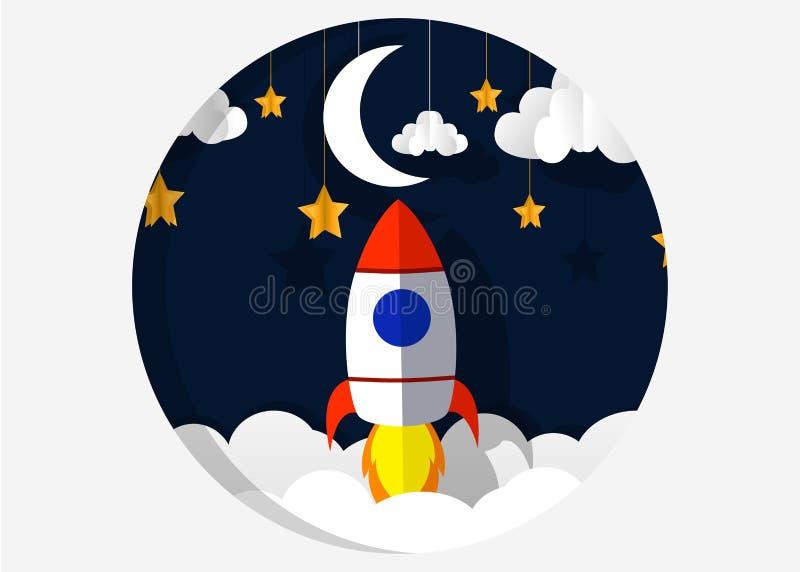 Τέχνη εγγράφου που χαράζει τον πύραυλο που πετά στο διάστημα Επιχειρησιακή ιδέα έννοιας, ξεκίνημα, εξερεύνηση ύφος απεικόνιση αποθεμάτων
