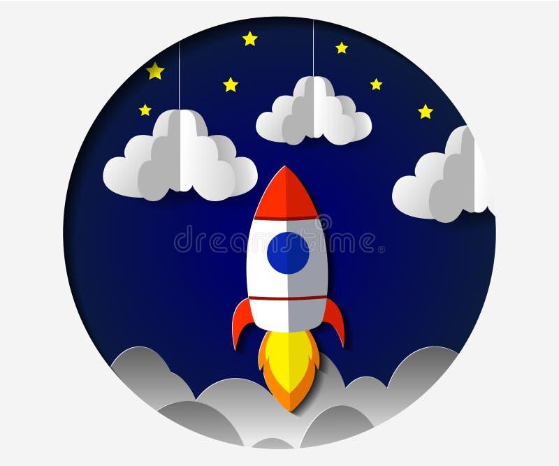 Τέχνη εγγράφου που χαράζει τον πύραυλο που πετά στο διάστημα Επιχειρησιακή ιδέα έννοιας, ξεκίνημα, εξερεύνηση επίσης corel σύρετε διανυσματική απεικόνιση