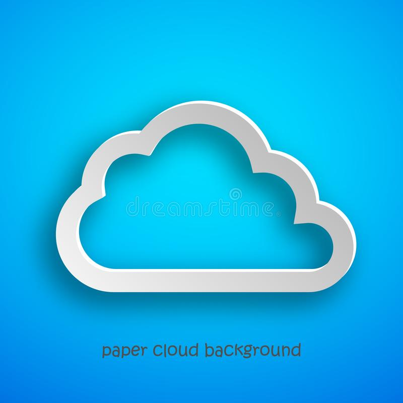 Τέχνη εγγράφου του σύννεφου στο μπλε υπόβαθρο επίσης corel σύρετε το διάνυσμα απεικόνισης ελεύθερη απεικόνιση δικαιώματος
