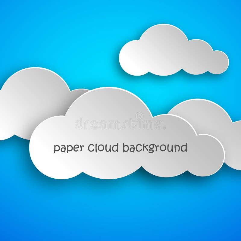Τέχνη εγγράφου των σύννεφων στο μπλε υπόβαθρο επίσης corel σύρετε το διάνυσμα απεικόνισης ελεύθερη απεικόνιση δικαιώματος