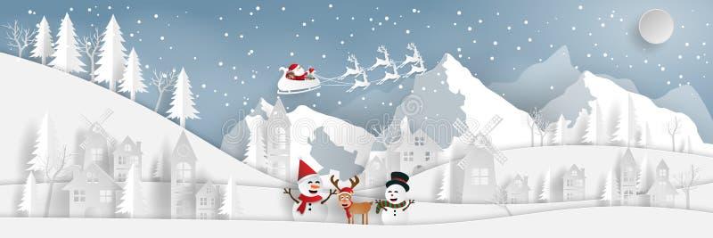 Τέχνη εγγράφου, ύφος τεχνών του τοπίου Άγιος Βασίλης επαρχίας και του χιονανθρώπου στο χωριό με το βουνό χιονιού ελεύθερη απεικόνιση δικαιώματος