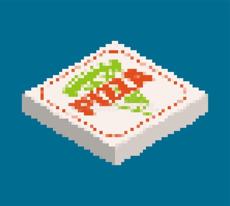 Τέχνη εικονοκυττάρου κιβωτίων πιτσών Οκτάμπιτος διανυσματικός παλαιός γρήγορου φαγητού διανυσματική απεικόνιση