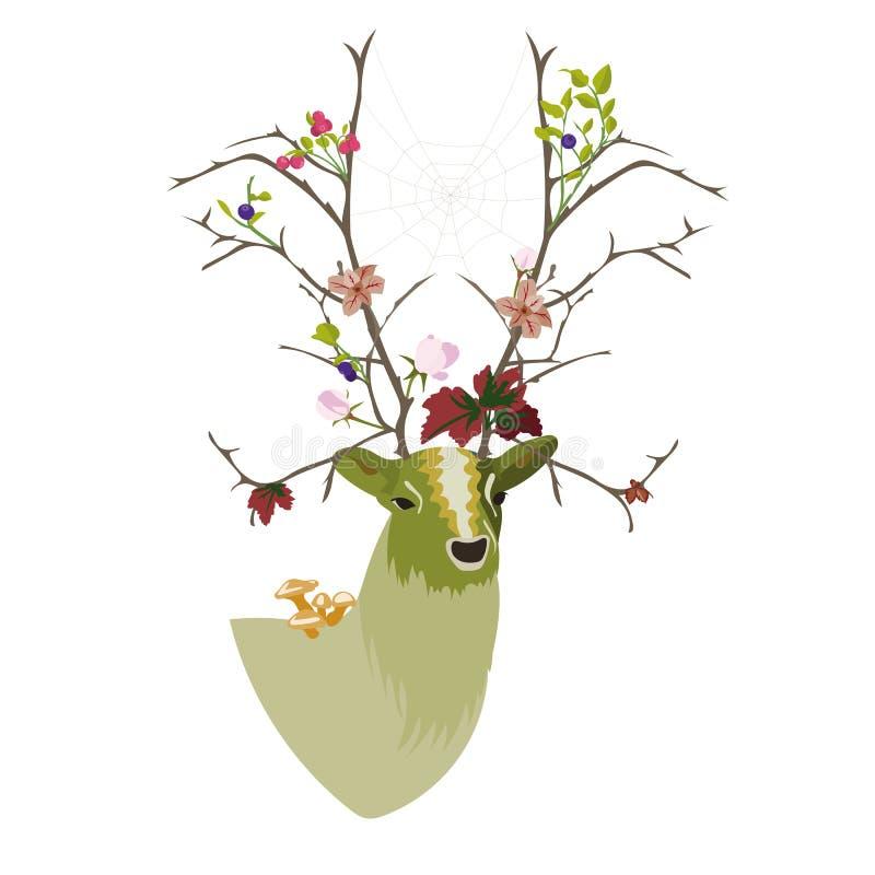 Τέχνη ελαφιών με με μορφή δέντρου κέρατα στοκ εικόνα