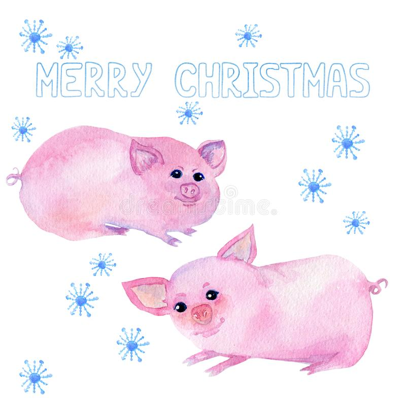 Τέχνη με το κινεζικό σύμβολο 2019, Χαρούμενα Χριστούγεννα κειμένων, snowflakes στο άσπρο υπόβαθρο απεικόνιση αποθεμάτων
