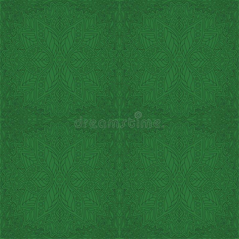 Τέχνη με το πράσινο αφηρημένο άνευ ραφής floral σχέδιο διανυσματική απεικόνιση