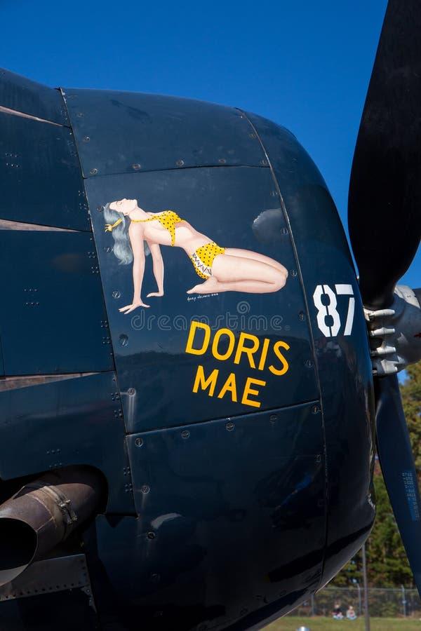 Τέχνη μύτης σε ένα αεροσκάφος εκδηκητών TBM από το Δεύτερο Παγκόσμιο Πόλεμο στοκ εικόνα με δικαίωμα ελεύθερης χρήσης