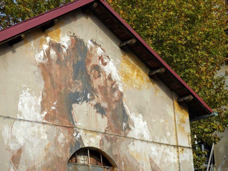 Τέχνη οδών δύο προσώπων αγοριών μιας πρόσοψης ενός κτηρίου στην περιοχή Ostiense της Ρώμης στην Ιταλία στοκ φωτογραφίες με δικαίωμα ελεύθερης χρήσης