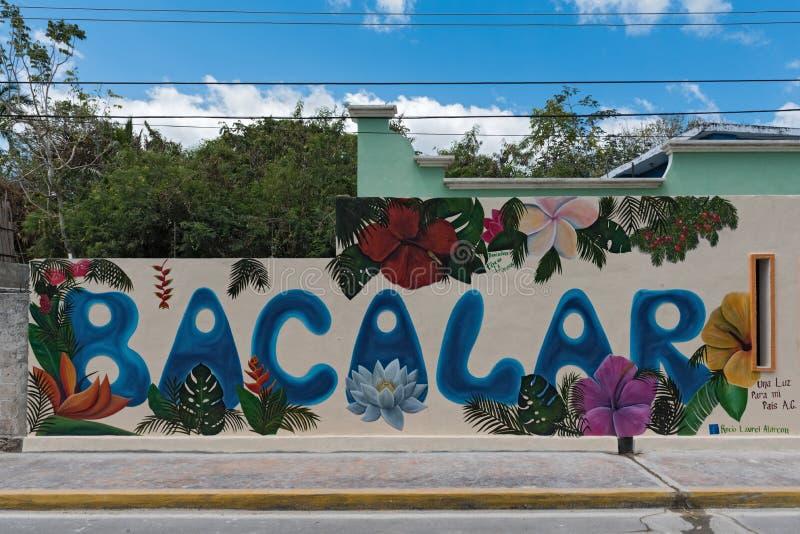 Τέχνη οδών σε έναν τοίχο σπιτιών στο κέντρο του bacalar, roo quintana, Μεξικό στοκ εικόνες