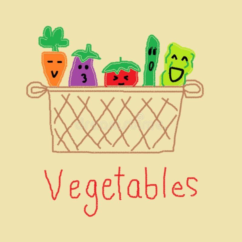 Τέχνη παιδιού: Σχέδιο εικόνων λαχανικών με το χρώμα κραγιονιών ελεύθερη απεικόνιση δικαιώματος