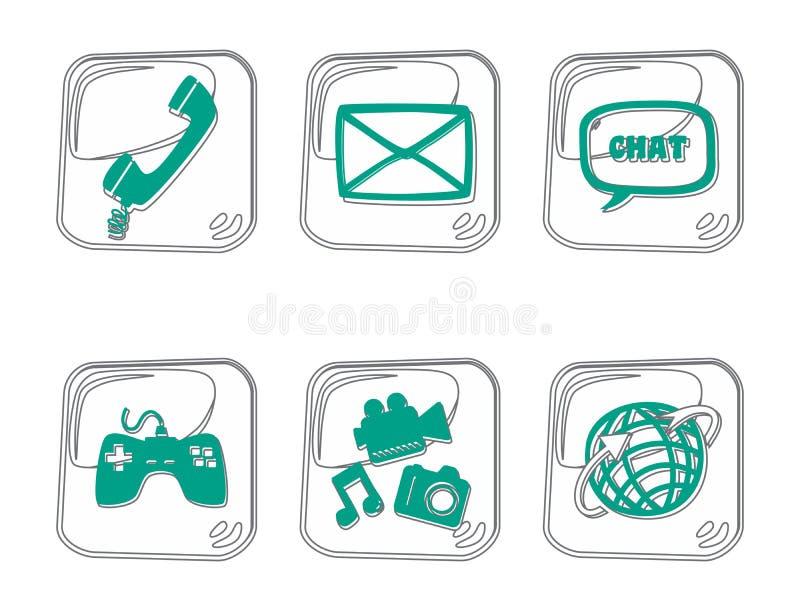 Download Τέχνη περιλήψεων εικονιδίων πολυμέσων Διανυσματική απεικόνιση - εικονογραφία από σημάδι, ταχυδρομείο: 62711885