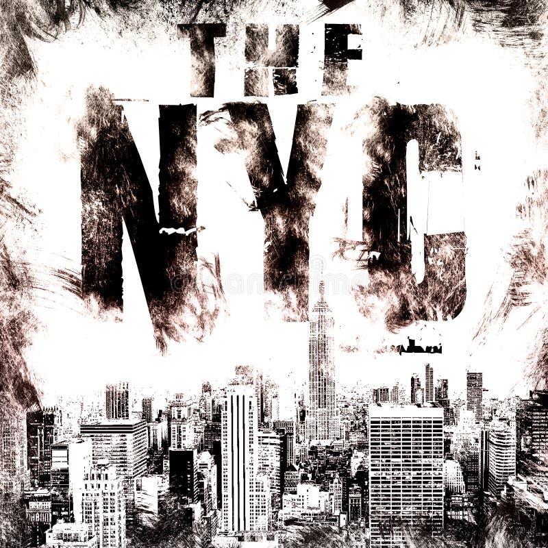 Τέχνη πόλεων της Νέας Υόρκης Γραφικό ύφος NYC οδών Μοντέρνη τυπωμένη ύλη μόδας Ενδυμασία προτύπων, κάρτα, ετικέτα, αφίσα έμβλημα, απεικόνιση αποθεμάτων