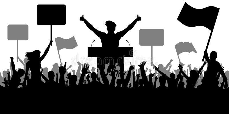 Τέχνη ρητορικής, πολιτική Πλήθος των ανθρώπων που καταδεικνύουν τη σκιαγραφία επίδειξη απεικόνιση αποθεμάτων