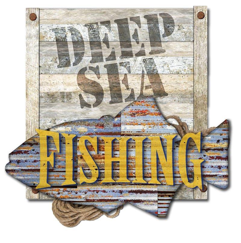 Τέχνη σημαδιών αλιείας μεγάλων θαλασσίων βαθών διανυσματική απεικόνιση