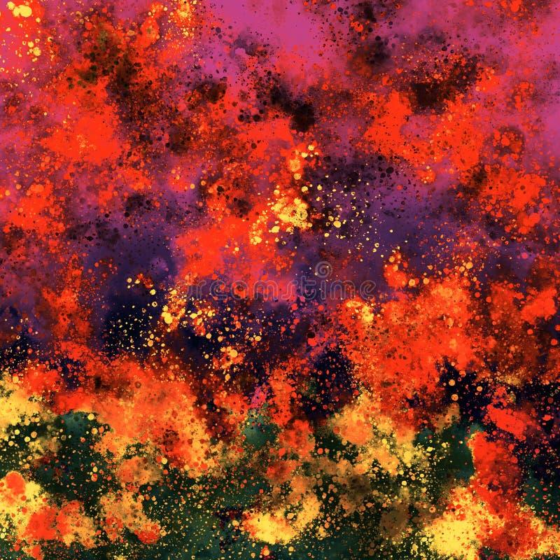 Τέχνη σημείων χρωμάτων Grunge Ακρυλικά κτυπήματα ζωγραφικής στον καμβά τέχνη μοντέρνα Παχύς καμβάς χρωμάτων Τεμάχιο του έργου τέχ ελεύθερη απεικόνιση δικαιώματος