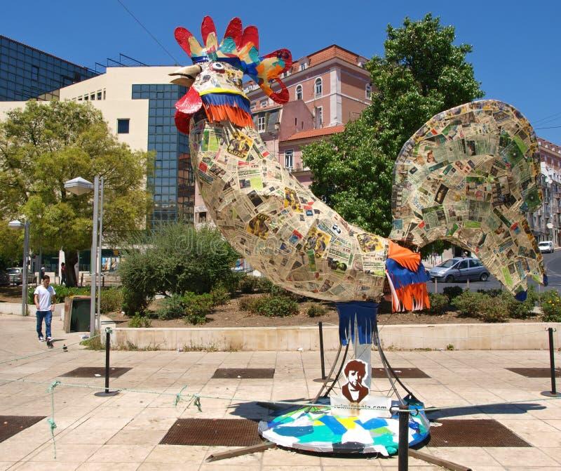 Τέχνη στην πόλη - ο επιδέξια σχεδιασμένος Gallo, χαρακτηριστικός της Πορτογαλίας στοκ εικόνα