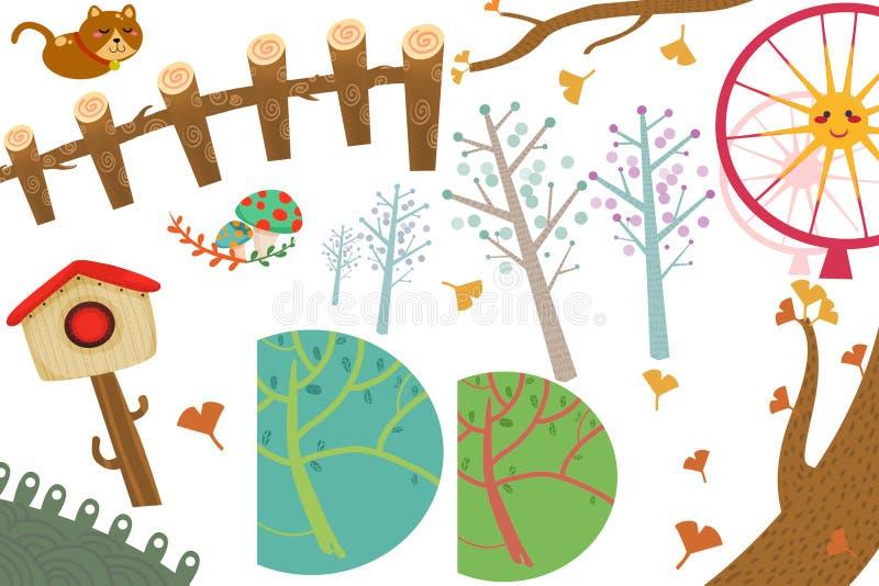Τέχνη συνδετήρων καθορισμένη: Η χώρα των θαυμάτων αντιτίθεται: Γάτα, ταχυδρομικό κουτί, δέντρο Ginkgo, ρόδα Ferris ελεύθερη απεικόνιση δικαιώματος