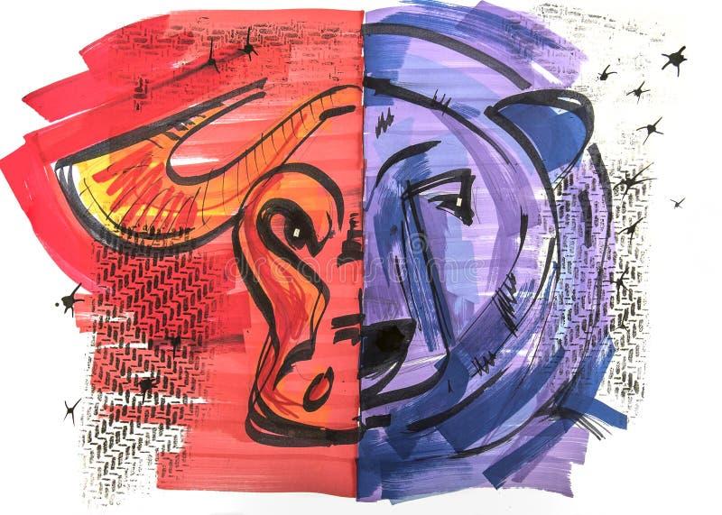 Τέχνη συνδετήρων της αρκούδας και του ταύρου του χρηματιστηρίου απεικόνιση αποθεμάτων