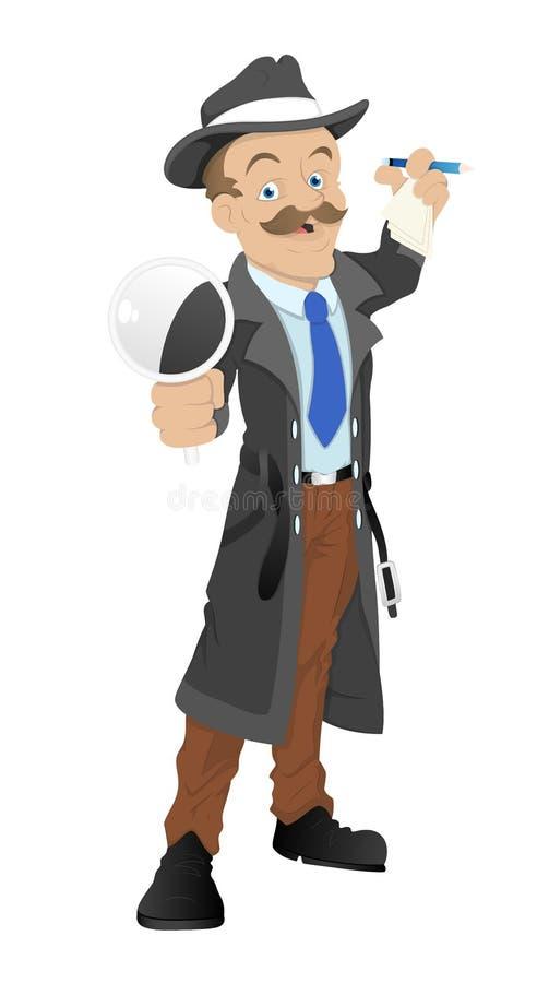 Ιδιωτικός αστυνομικός κινούμενων σχεδίων απεικόνιση αποθεμάτων