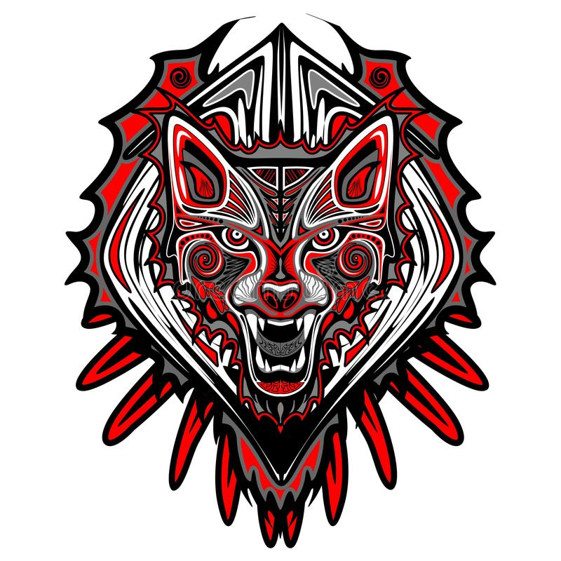 Τέχνη Haida ύφους δερματοστιξιών λύκων διανυσματική απεικόνιση