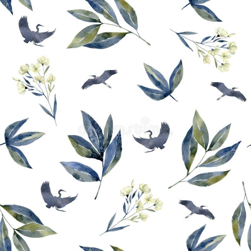 Τέχνη Watercolor με τα δασικά λουλούδια Άνευ ραφής με τους γερανούς, μπλε ιώδες φύλλο απεικόνιση αποθεμάτων