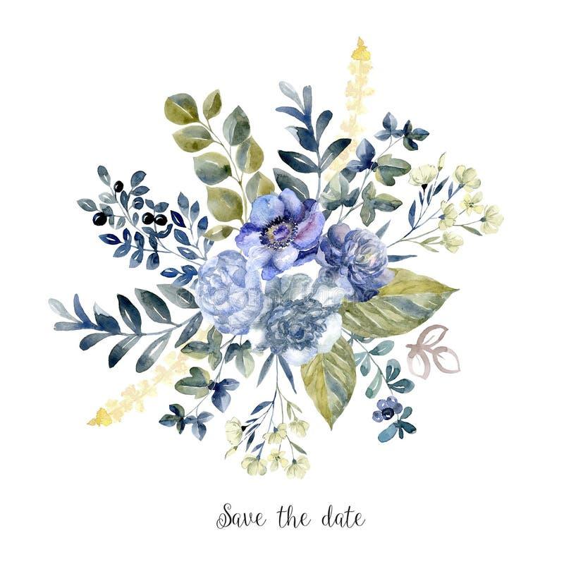 Τέχνη Watercolor με τη φρέσκια ανθοδέσμη λουλουδιών για το γάμο διανυσματική απεικόνιση