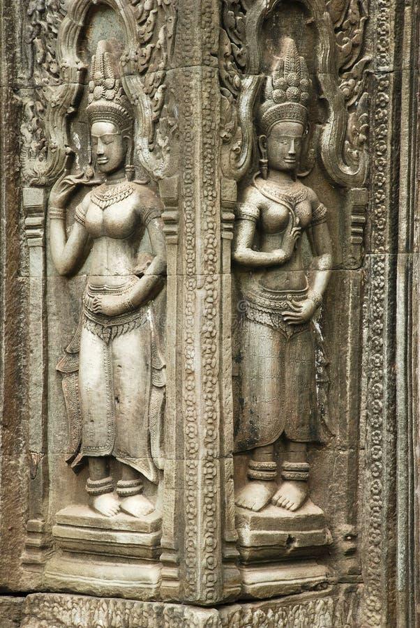 Γλυπτικές Devata, ναός TA Prohm, Angkor Wat, Καμπότζη στοκ εικόνες