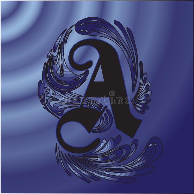 Τέλειο κεφαλαίο γράμμα από τη γοτθική πηγή Μπούκλες, εγκαταστάσεις, τυποποιημένες, επιστολές, επιστολή, χρώμα, μπλε, μαύρος, γοτθ στοκ φωτογραφία με δικαίωμα ελεύθερης χρήσης