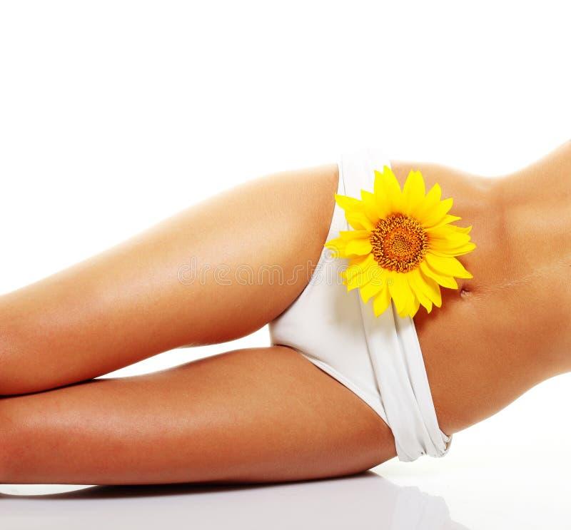 Τέλειο μαυρισμένο σώμα γυναικών που απομονώνεται στοκ εικόνες με δικαίωμα ελεύθερης χρήσης