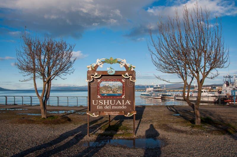 Τέλος του κόσμου σε Ushuaia, Γη του Πυρός, Αργεντινή στοκ φωτογραφία με δικαίωμα ελεύθερης χρήσης