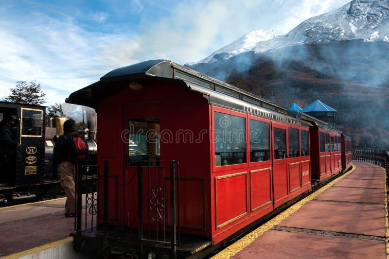 Τέλος του παγκόσμιου τραίνου, Γη του Πυρός, Αργεντινή στοκ φωτογραφίες