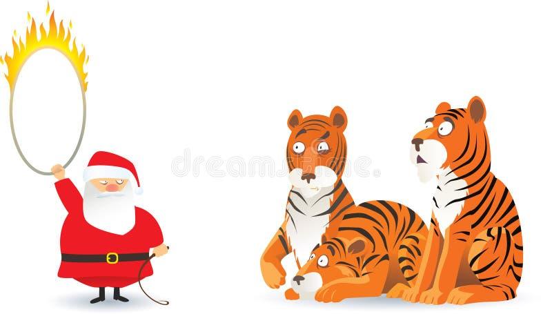 τίγρες santa διανυσματική απεικόνιση