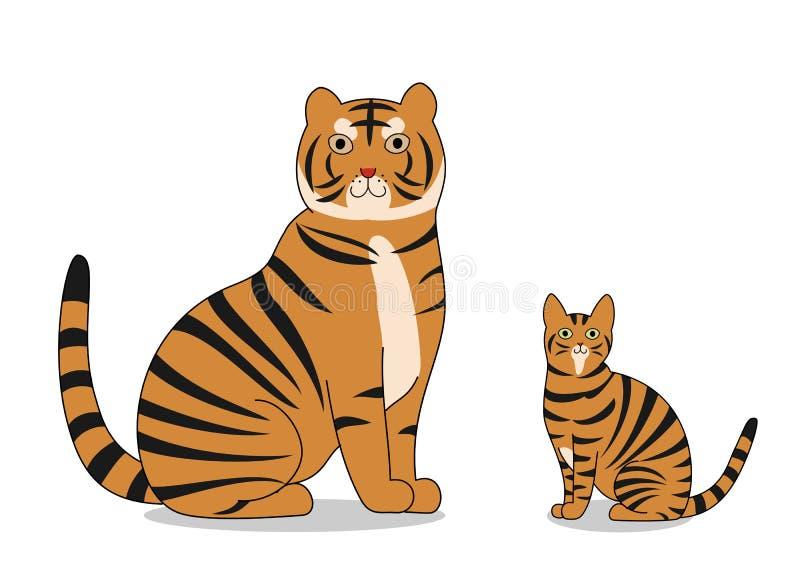 Τίγρη και γάτα τιγρών απεικόνιση αποθεμάτων