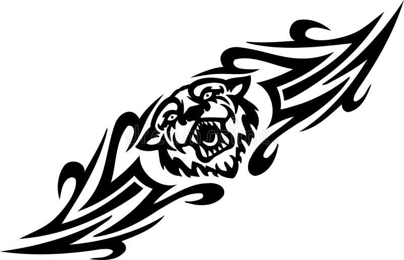 Τίγρη και συμμετρικά tribals - διανυσματική απεικόνιση. ελεύθερη απεικόνιση δικαιώματος