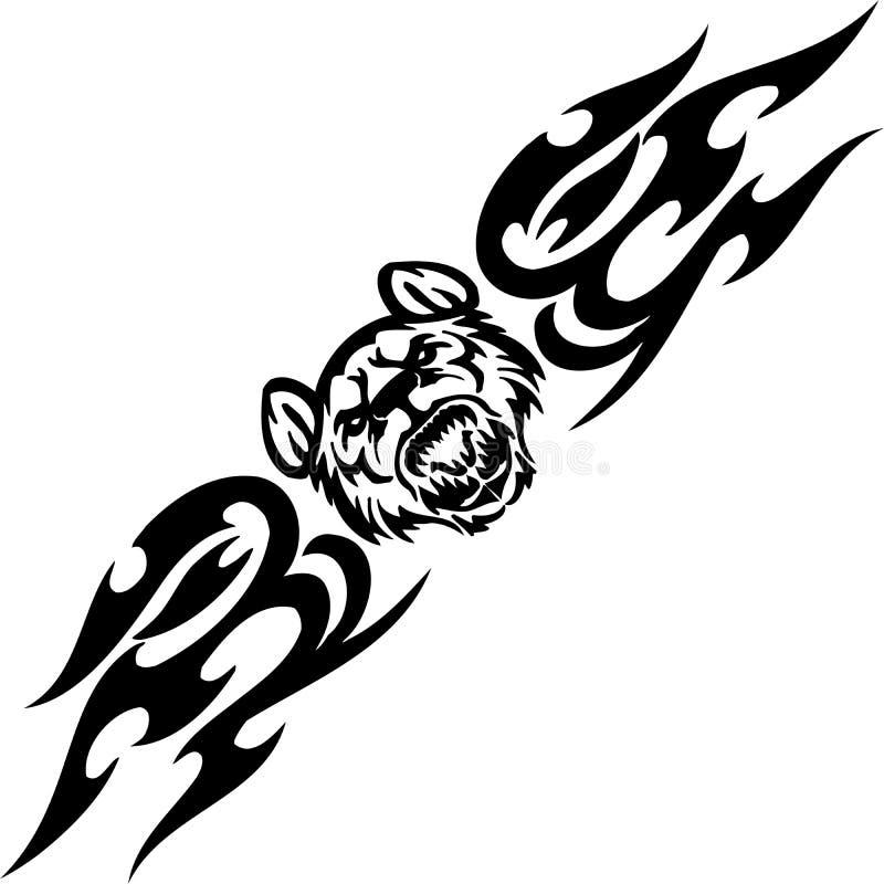 Τίγρη και συμμετρικά tribals - διανυσματική απεικόνιση. διανυσματική απεικόνιση