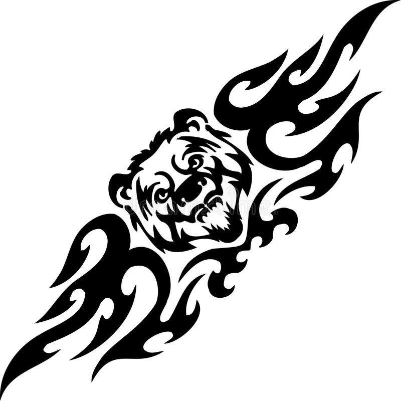 Τίγρη και συμμετρικά tribals - διανυσματική απεικόνιση. απεικόνιση αποθεμάτων