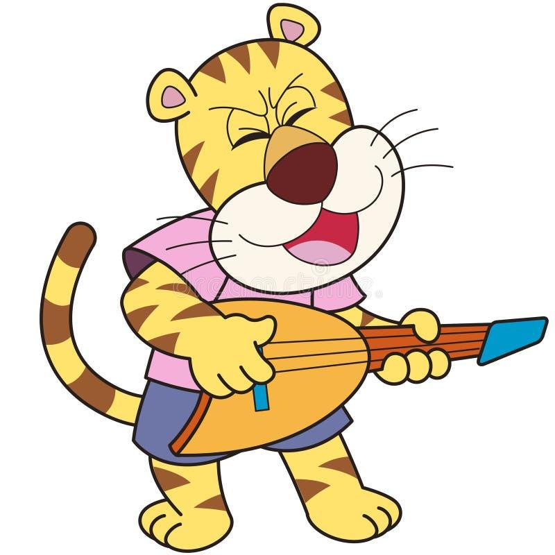 Τίγρη κινούμενων σχεδίων που παίζει μια ηλεκτρική κιθάρα ελεύθερη απεικόνιση δικαιώματος