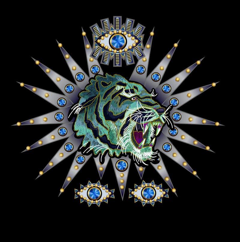 Τίγρη, μάτι σε ένα ασημένιο μπάλωμα κεντητικής υποβάθρου με τα τσέκια και τις χάντρες για το υφαντικό σχέδιο απεικόνιση αποθεμάτων