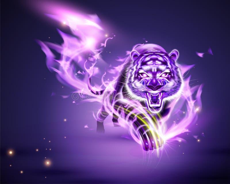 Τίγρη με την πορφυρή καίγοντας φλόγα διανυσματική απεικόνιση