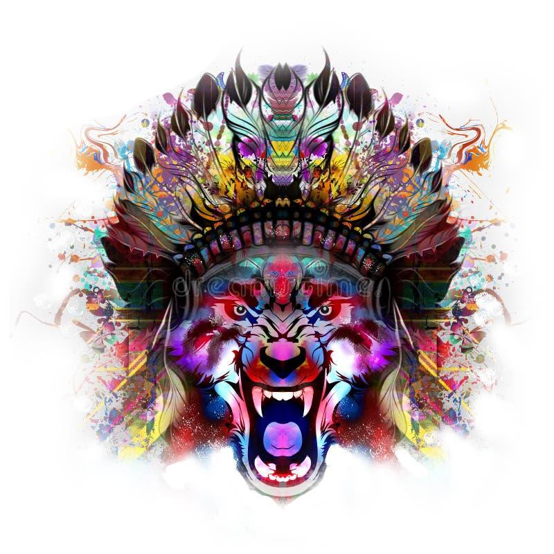 Τίγρη με το μισό από το ανθρώπινο κρανίο απεικόνιση αποθεμάτων
