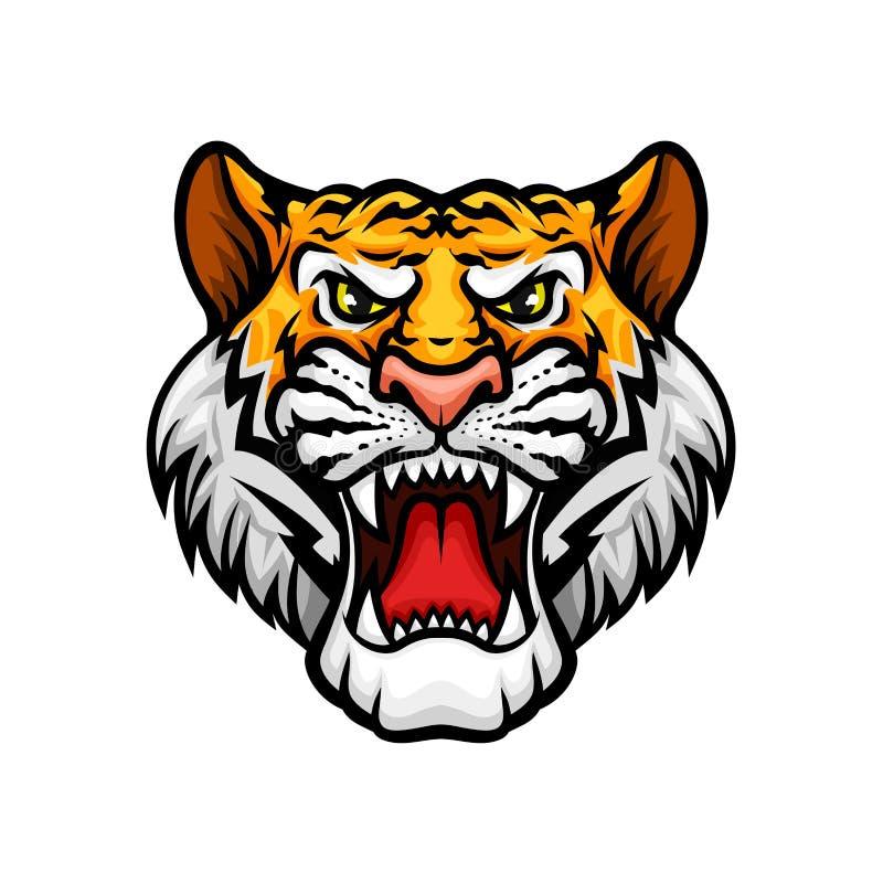 Τίγρη που βρυχείται το επικεφαλής εικονίδιο μασκότ ρυγχών διανυσματικό διανυσματική απεικόνιση