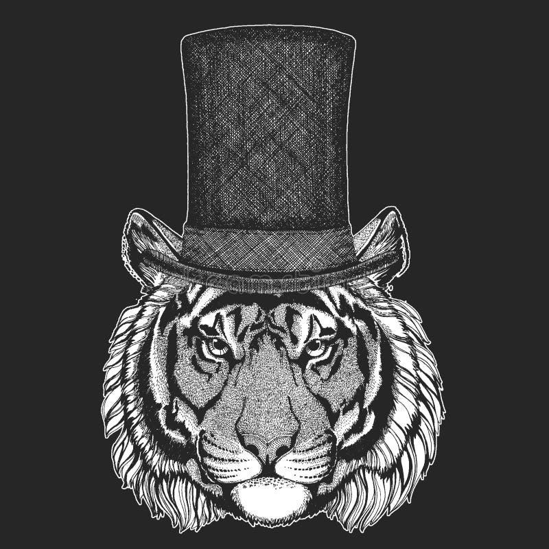 Τίγρη Τοπ καπέλο, κύλινδρος Ζώο Hipster, κύριος Κλασικά headdress Τυπωμένη ύλη για την μπλούζα παιδιών, ενδυμασία παιδιών διανυσματική απεικόνιση