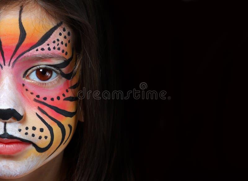 Τίγρη facepaint στοκ εικόνες