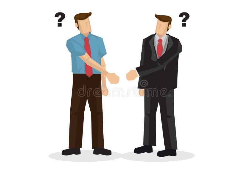 Τίναγμα χεριών επιχειρηματιών με τα διαφορετικά χέρια Έννοια mi διανυσματική απεικόνιση