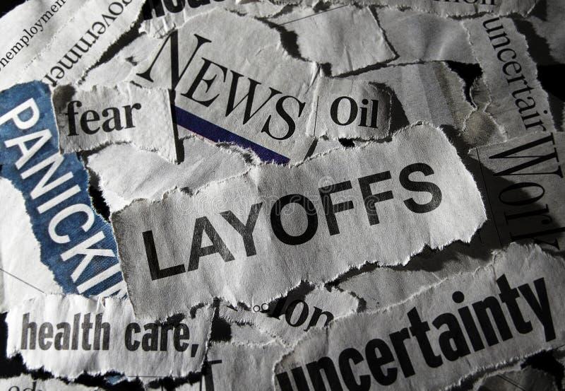 Τίτλος ειδήσεων προσωρινών απολύσεων στοκ φωτογραφία με δικαίωμα ελεύθερης χρήσης
