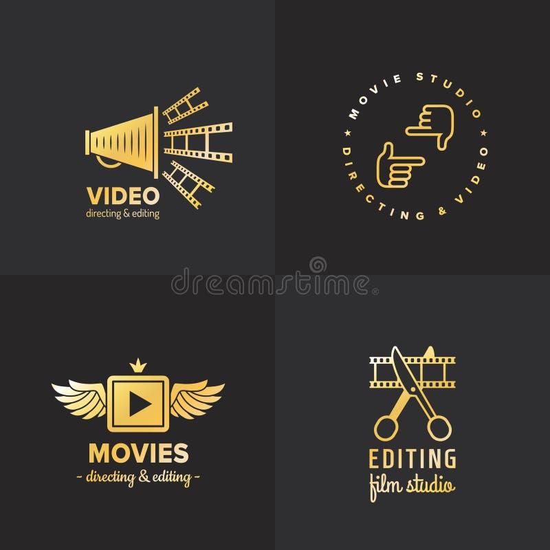 Ταινία, κινηματογράφος και τηλεοπτικό εκλεκτής ποιότητας διανυσματικό σύνολο λογότυπων μέρος δύο ελεύθερη απεικόνιση δικαιώματος