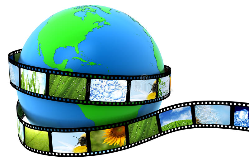 ταινία που τυλίγεται γήιν διανυσματική απεικόνιση