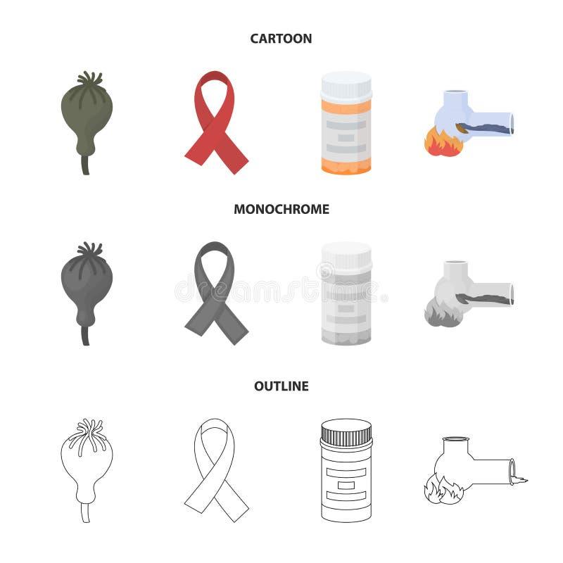Ταινία του AIDS, ταμπλέτες, παπαρούνα οπίου, ένας σωλήνας για hashish Καθορισμένα εικονίδια συλλογής φαρμάκων στα κινούμενα σχέδι ελεύθερη απεικόνιση δικαιώματος