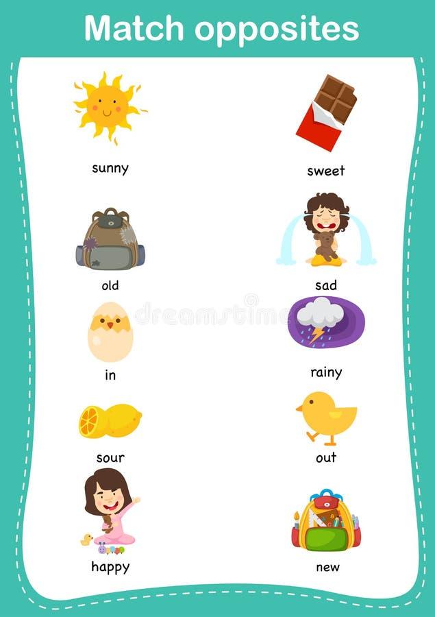 Ταιριάζοντας με εκπαιδευτικό παιχνίδι παιδιών Αντιστοιχία των αντιθέτων απεικόνιση αποθεμάτων