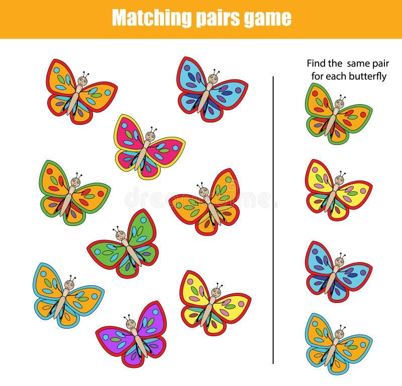 Ταιριάζοντας με εκπαιδευτικό παιχνίδι παιδιών απεικόνιση αποθεμάτων